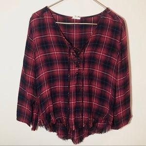 Natural Life Flannel Blouse with Fringe Bottom